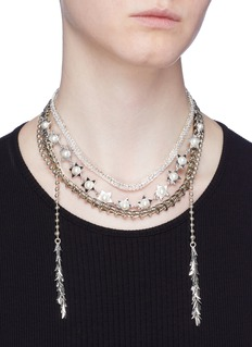 Venna Glass crystal faux pearl multi chain necklace