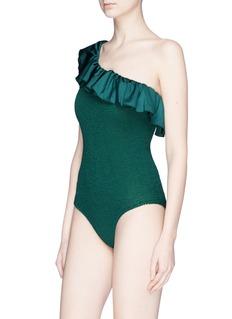 Hunza G 'Natalya' ruffle one-shoulder seersucker one-piece swimsuit