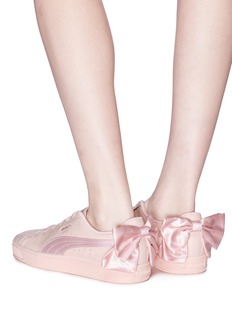 Puma 'Basket Bow' satin leather sneakers