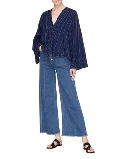 Elizabeth and James 'Carmine' frayed cuff wide leg jeans
