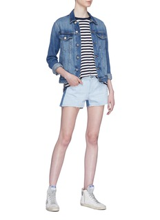 rag & bone/JEAN Colourblock cutoff denim shorts