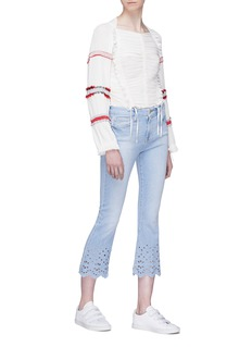 Frame Denim 'Le Crop Mini Boot' cutout scallopped cuff jeans