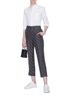 Theory Geometric print cropped silk twill pants