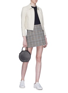 Theory Houndstooth check plaid virgin wool-blend mini skirt