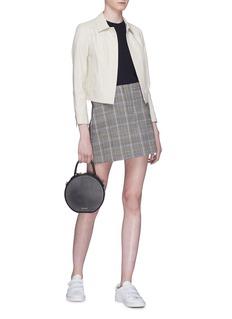 Theory Houndstooth check plaid virgin wool-blend mini skirt