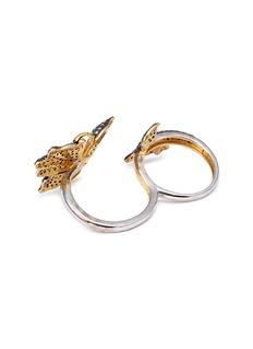 Aishwarya Diamond gemstone gold alloy silver two finger ring