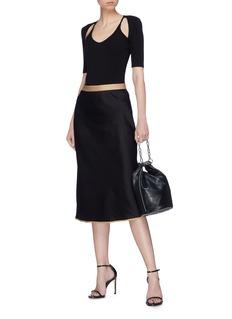 T By Alexander Wang 'Wash & Go' contrast waistband satin midi skirt