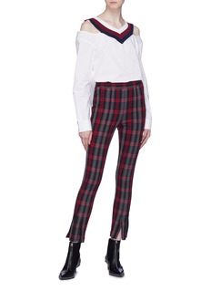 T By Alexander Wang Double zip cuff check plaid leggings