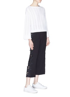 alice + olivia 'Benny' floral lace outseam cropped flared pants