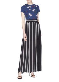 alice + olivia 'Gabel' stripe pleated maxi skirt