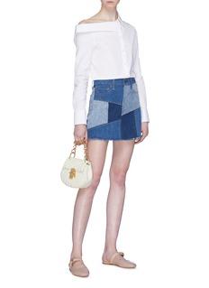 alice + olivia Patchwork denim mini skirt