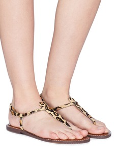Sam Edelman 'Gigi' leopard print brahma hair thong sandals