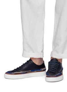 CASABLANCA1942 'Panna' raffia trim leather sneakers