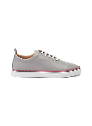 Thom Browne Asymmetric pebble grain leather sneakers ...