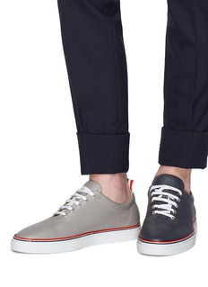 Thom Browne Asymmetric pebble grain leather sneakers