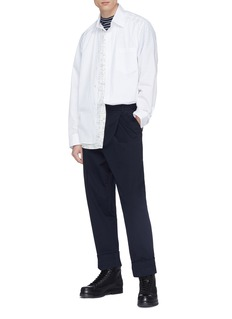 3.1 PHILLIP LIM 折叠裤脚口褶裥斜纹布露踝马术裤