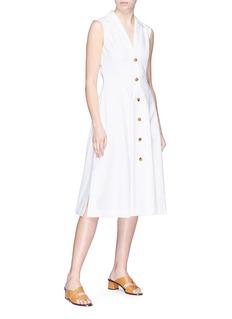KHAITE 'The Marilyn' twill flared shirt dress