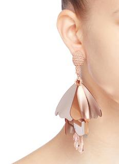Oscar de la Renta 'Large Impatiens' petal drop clip earrings