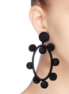 Oscar de la Renta Ball threaded hoop clip earrings
