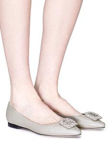 PEDDER RED Jeanne仿水晶方扣真皮平底鞋