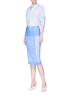 Victoria Beckham 'Linear' panelled organza poplin pencil skirt