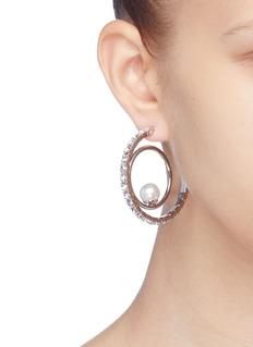 Joomi Lim 'Saturn Stunner' Swarovski crystal pearl double hoop earrings