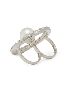 Joomi Lim 'Saturn Stunner' Swarovski crystal hoop two finger ring