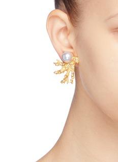 Kenneth Jay Lane Glass crystal pearl branch clip earrings