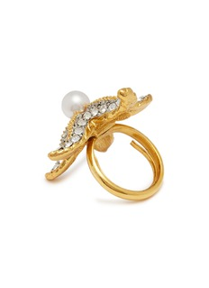 Kenneth Jay Lane Glass crystal glass pearl starfish ring