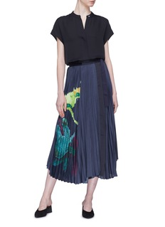 Patricia Iglesias Floral print asymmetric pleated satin skirt
