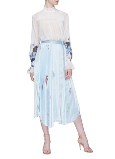 Patricia Iglesias Floral print asymmetric pleated satin skirt