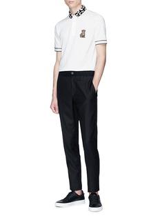 Dolce & Gabbana Leopard appliqué contrast collar polo shirt