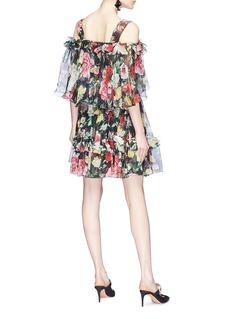 Dolce & Gabbana Floral print ruffle off-shoulder silk chiffon dress