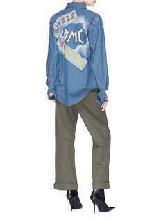 Forte Couture Slogan appliqué graffiti print denim shirt