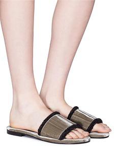Avec Modération 'Kitzbuhel' braided edge velvet slide sandals