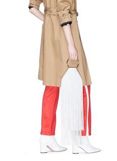 Kara Ring handle fringe leather pouch