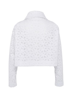 Alaïa Floral embroidered mesh cropped jacket