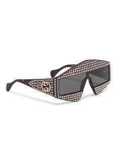 Gucci Glass crystal stud tortoiseshell acetate angular frame sunglasses