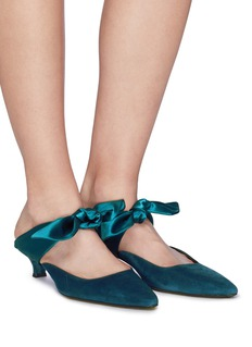 The Row 'Coco' satin bow suede mules