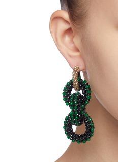 Rosantica 'Carrarmato' beaded long interlocking hoop earrings