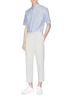 Theory 'Bruner' stripe short sleeve shirt