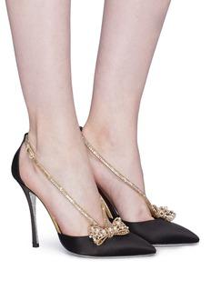 RENÉ CAOVILLA 人造珍珠蝴蝶结搭带缎面高跟鞋