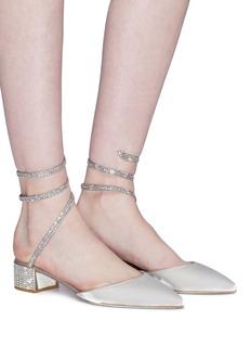 RENÉ CAOVILLA Snake仿水晶绕踝绊带天鹅绒粗跟鞋