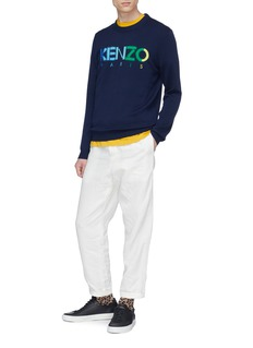 KENZO Logo intarsia wool blend sweater