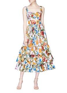 Dolce & Gabbana Floral bamboo print tiered poplin dress