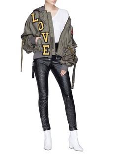 Dolce & Gabbana Mix chenille patch oversized bomber jacket
