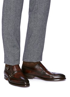 Magnanni Suede panel double monk strap leather boots