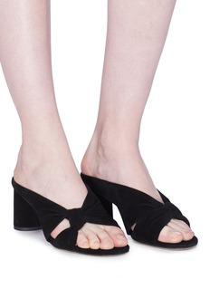 Pedder Red 'Zali' knot strap cylindrical heel suede sandals