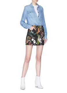 Topshop Strass embellished floral print denim skirt
