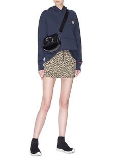 Topshop Leopard print zip front denim skirt